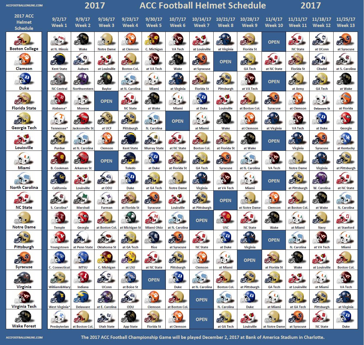 2017 ACC Football Helmet Schedule