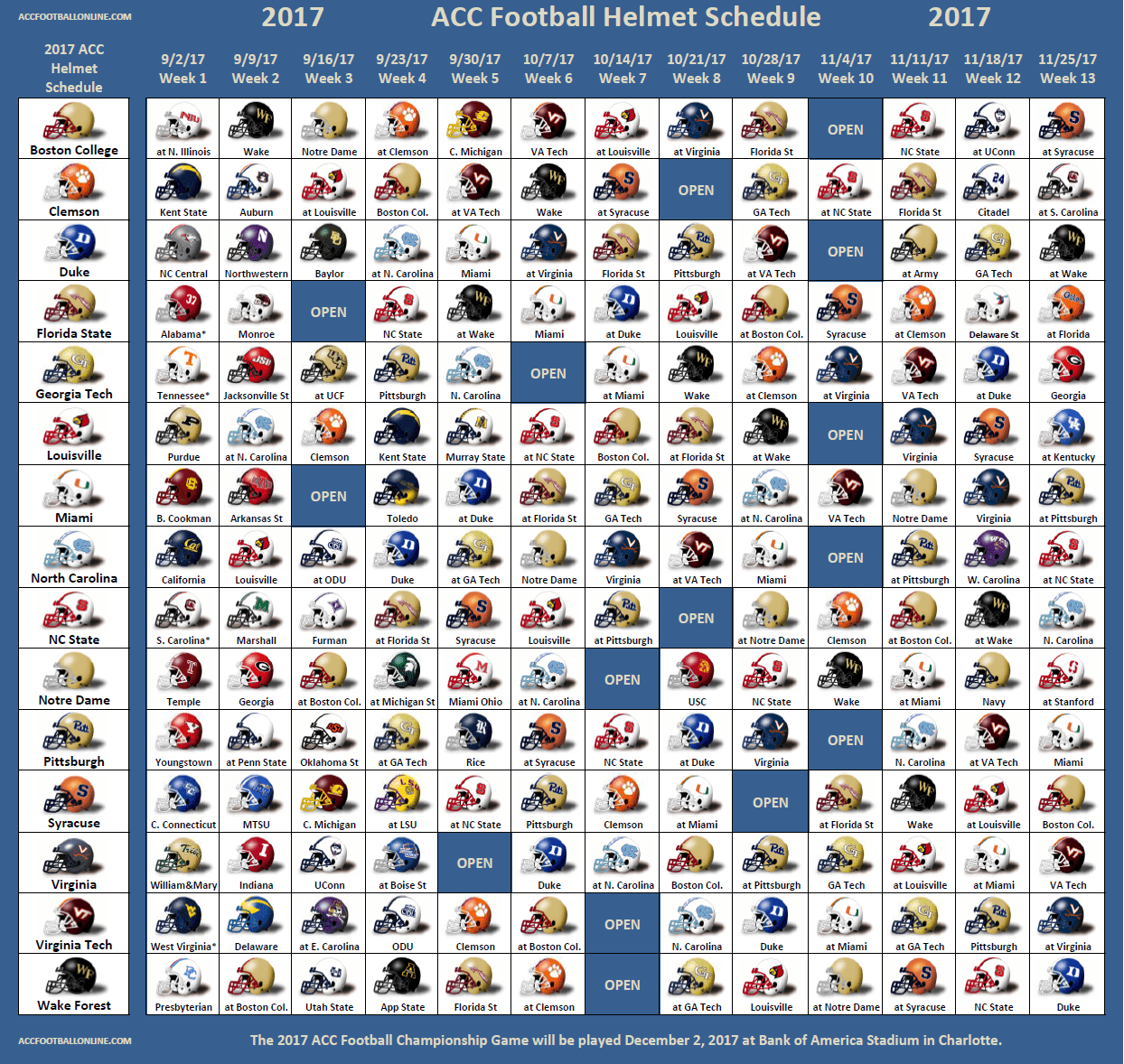 2017 ACC Football Helmet Schedule