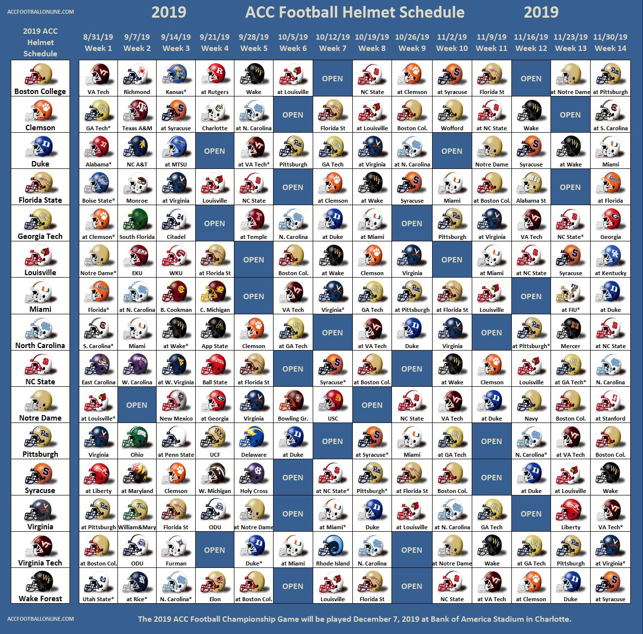 2019 ACC Football Helmet Schedule